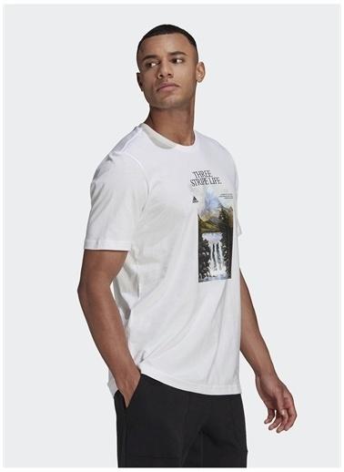 adidas adidas GN6851 MOUNTAIN TEE M Erkek T-Shirt Beyaz